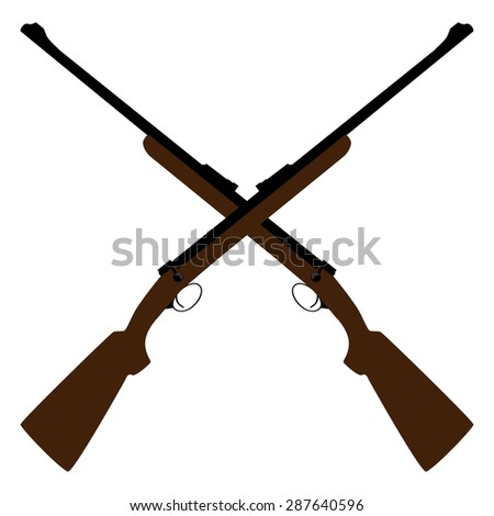 Two crossed rifle vector illustration. Hunting rifle. Sniper rifle. Old rifle. Revolution symbol - stock vector