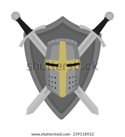 Two crossed swords steel shield and helmet heraldry emblem. Security logo. Clip art color vector illustration isolated on white - stock vector
