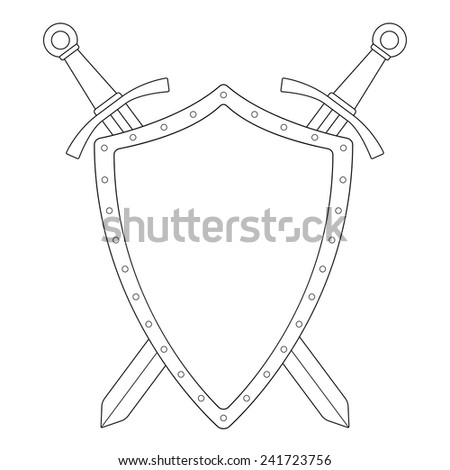 Two crossed swords steel shield heraldry emblem. Security logo. Clip art contour vector illustration isolated on white - stock vector