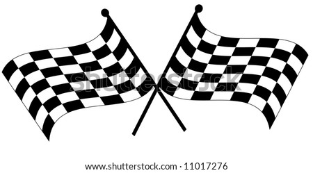 two crossed waving black and white checkered flags - vector - stock vector