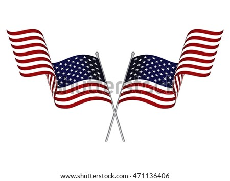 Two crossed waving USA flags isolated on white background.