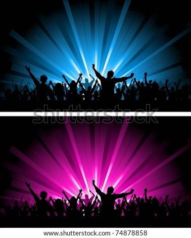 Two crowd scenes - stock vector