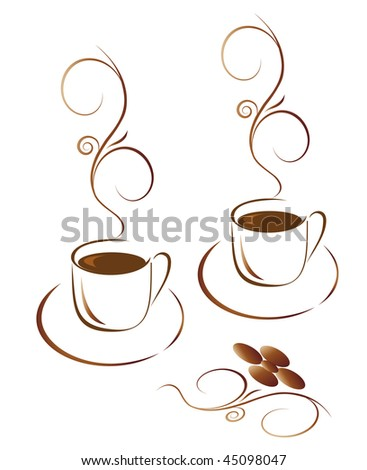 Two cups of hot coffee. Vector illustration