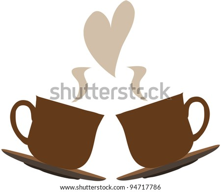 two cups of hot drink, steam in the form of heart - stock vector