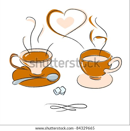Two cups of steaming coffee (vector)