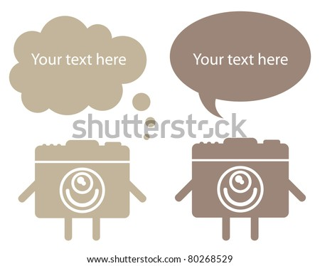 Two cute alive photo cameras with speech bubbles - stock vector