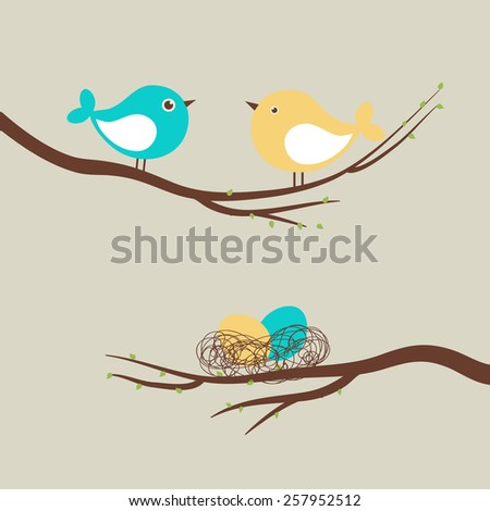 Two cute birds and eggs in the nest/ Vector easter card - stock vector