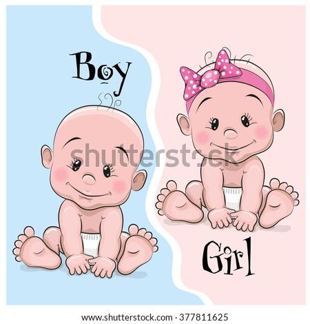 two cute cartoon babies boy girl stock vector 377811625 shutterstock rh shutterstock com images of cartoon baby in pram images of cartoon twin babies