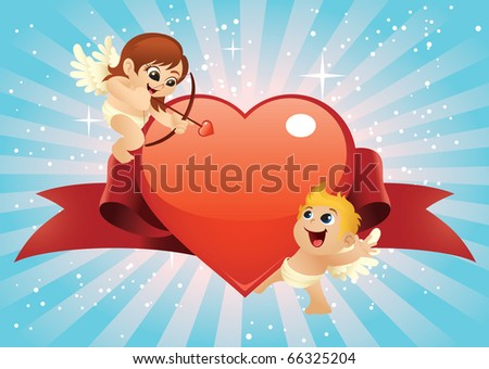 Two cute cartoon cupids with a big glossy heart illustration. The file is layered for easier editing. Perfect for Valentine backgrounds, cards, posters and banners. - stock vector