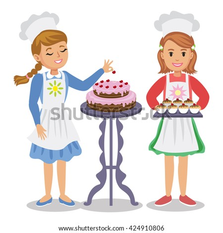Two cute cartoon girl with pastry. Girl decorates a cake with cherries. Girl holding cupcakes. Vector illustration - stock vector