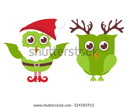 Two cute Christmas owls. One owl in Santa hat and beard and one in reindeer horns. Vector holiday illustration. Christmas card - stock vector
