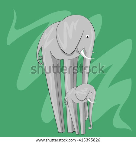 Two cute elephants isolated on green background. Vector illustration.  - stock vector