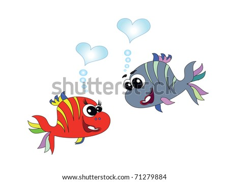 Two cute  fishes ,vector