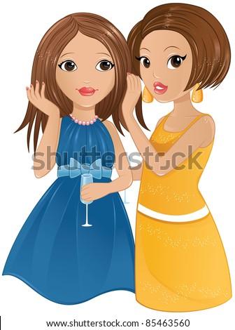 Vector cartoon women talking. Cartoon young women in ...