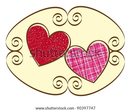 two cute hearts over sign ornament. vector illustration - stock vector