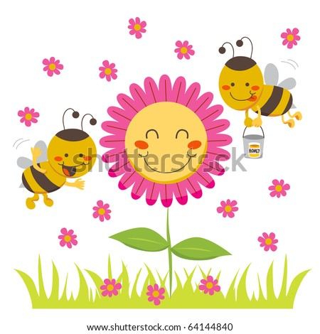 Two cute honey bees flying around a happy flower carrying a bucket