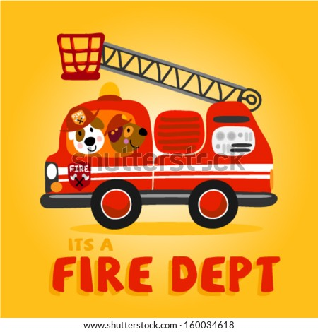 two cute little animals firetruck vector stock vector 160034618 rh shutterstock com Cute Fire Truck Clip Art Firettruck Clip Art
