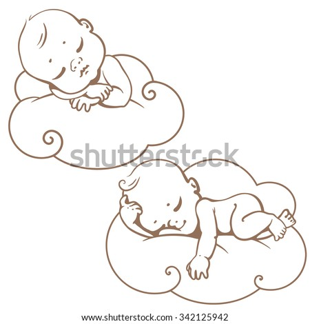 Two cute little babies sleeping on white cloud. Newborn baby icon. Monochrome sketchy vector illustration. Smiling cartoon kids lying on soft pillow . Child resting at night.  Baby shower line art. - stock vector