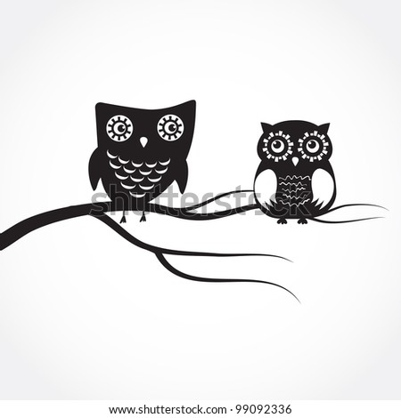 Two cute owls on the tree branch - stock vector