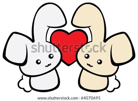Two cute rabbits in love. - stock vector