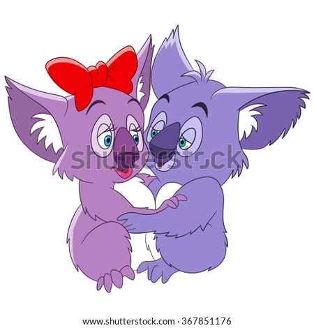 two cute romantic and lovely cartoon koalas embracing each other and dancing passionate tango on saint valentines day, isolated on a white background - stock vector