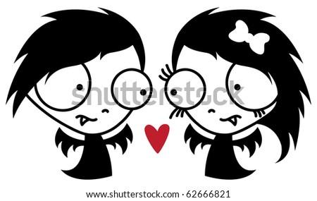 Two cute vampires in love. - stock vector