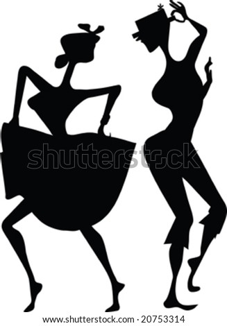two dancers black silhouette isolated on white - stock vector