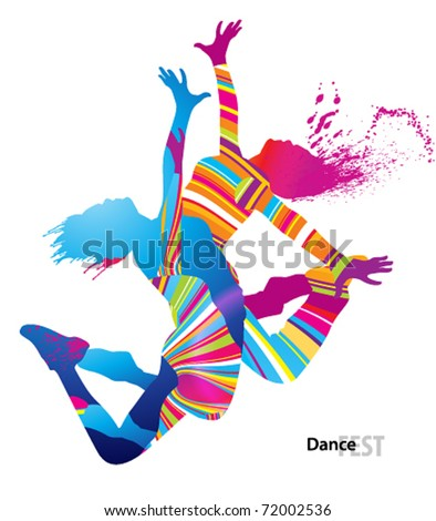 Two dancing girls with colorful spots and splashes on white background. Vector illustration. - stock vector