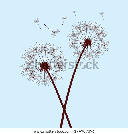 two dandelions on blue background - stock vector