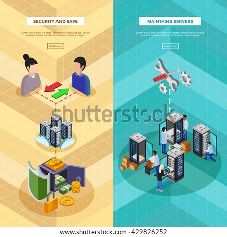 Two datacenter isometric vertical banners with server hardware and technical staff supporting safety of software and data transfer flat vector illustration  - stock vector