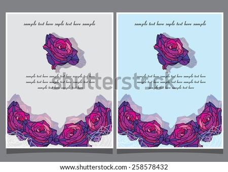 two decorative floral background with roses and text, invitation - stock vector
