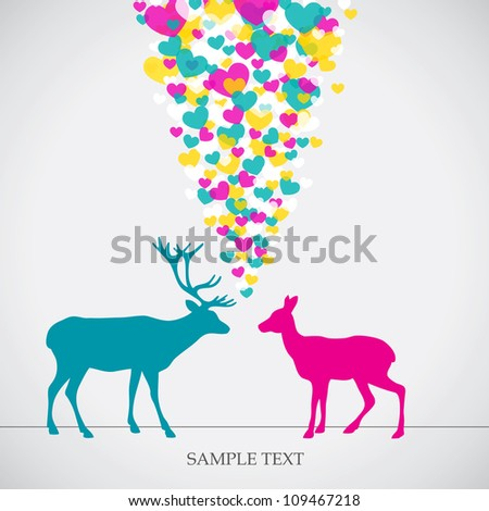 Two deers, love colorful card. Can be used for postcard, valentine card, wedding invitation