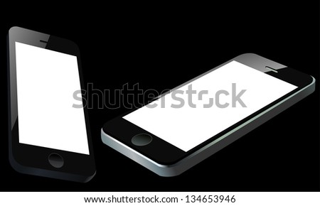Two detailed  smart mobile phones in unusual perspective over black background. Easy editable layered vector illustration - stock vector
