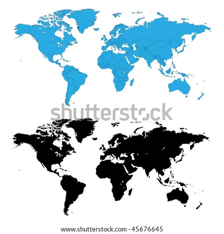 Two detailed world maps, one with country borders, vector illustration - stock vector