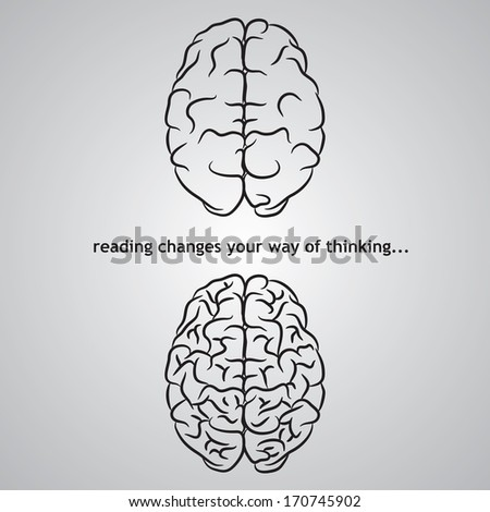 Two different brains on gray background. eps10 - stock vector