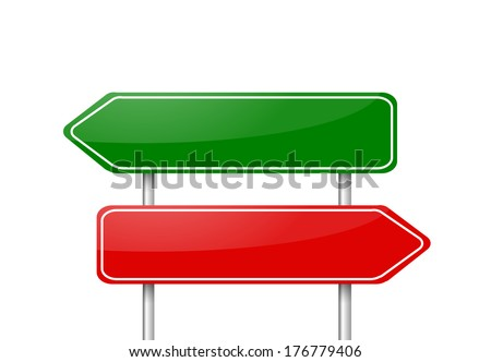 Two different direction arrow road signs red and green vector - stock vector