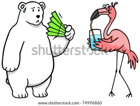 Two different effects of climate change: a warm polar bear, and a flamingo in need of fresh water. - stock vector