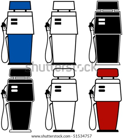 Two different gas pumps with color variations - stock vector