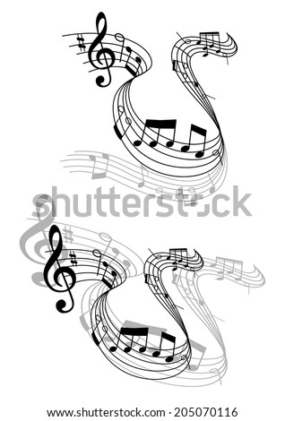 Two different grayscale designs of a swirling music score with musical notes and perspective for musical design - stock vector