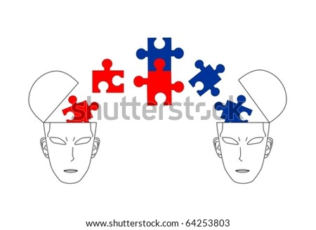 Two different ideologies dialog and reaching agreement - stock vector