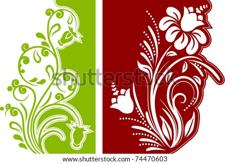 Two different modern beautiful floral design elements - stock vector