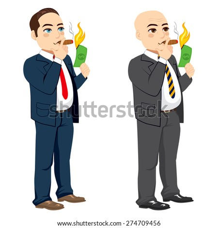 Two different rich businessman lighting cigar with dollar bill - stock vector