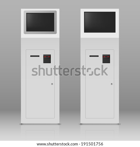 Two digital terminals with touchscreen for payment service - stock vector