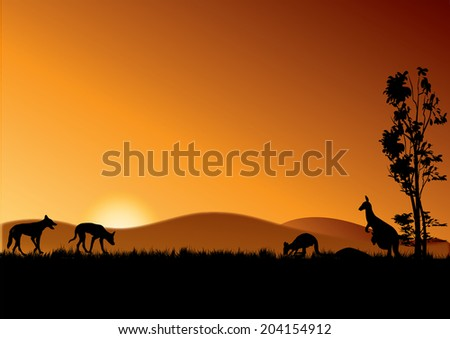 two dingos and kangaroos in the sunset - stock vector