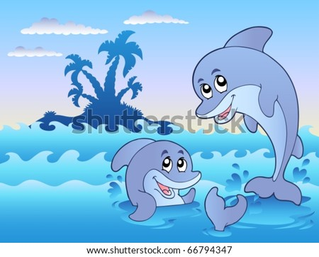 Two dolphins playing in waves - vector illustration.
