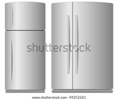 Two domestic metallic refrigerators. Vector illustration. - stock vector