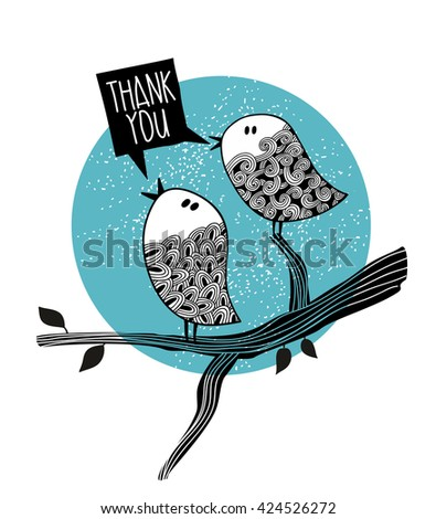 Two doodle birds on the tree. Family vector illustration.