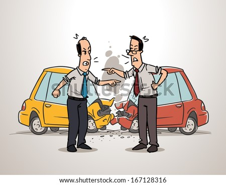 Two drivers arguing after car accident - stock vector