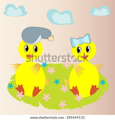Two duckling on a flower meadow. Vector. - stock vector