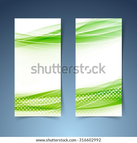 Two ecological modern green abstract swoosh banners. Vector illustration - stock vector